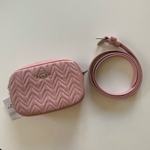 Coach Baby Pink Quilted Leather Belt Bag